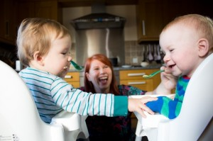 Twins in highchairs - Meals for Squeals cookery school