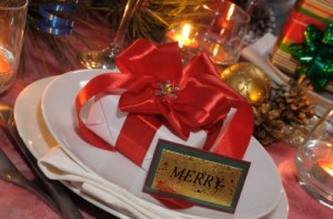 Present At The Festive Table For Christmas Stock Photo byb Apolonia