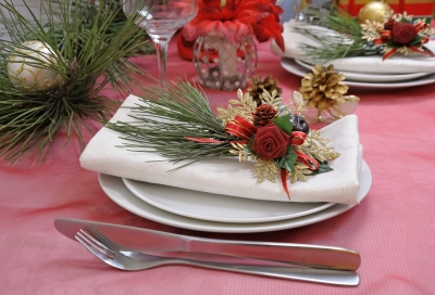Table Setting For Christmas And New Year Stock Photo by Apolonia