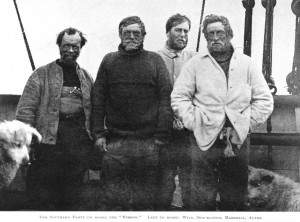 Nimrod Expedition South Pole Party (L-R) Wild, Shackleton, Marshall, Adams