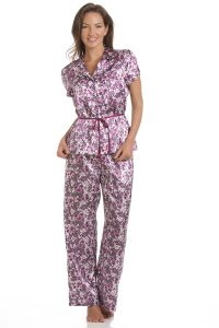 Short Sleeved Satin Floral Pyjams Purple Pink Floral (1)