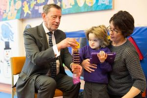 Former Secretary of State for Education, Lord David Blunkett meets Ruby aged 8 at the launch of a public enquiry conducted by National deafblind charity, Sense revealing the huge inequalities in play opportunities available for children with multiple needs. Credit: Sense