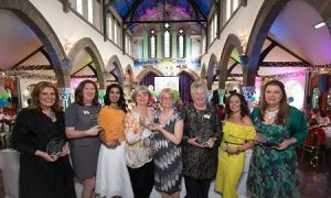 credit photographer Martin Shields Left to right Simone Lockhart - Search Consultancy Ann-Maree Morrison - Labels4Kids Vash Naidoo - Compliance Scotland Sisters - Olivia Robertson & Claire Cooper - Home Straight & Elli Assisted Living Technology Ltd Shirley Spear – The Three Chimneys (Skye) Jenny McCreary - Sew Confident Liz Taylor - Taylormade Marketing